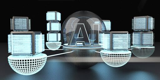 3D rendering, Text AI under a glass dome connencted to a network of digital cubic units