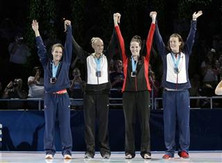 Lauren Perdue, left, Dana Vollmer, Missy Franklin, Allison Schmitt