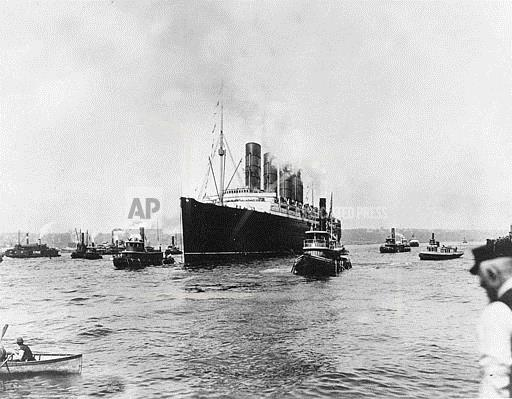 Associated Press Domestic News New York United States WWI BRITISH LINER LUSITANIA
