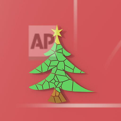 3D rendering, Chrismas tree puzzle on red background