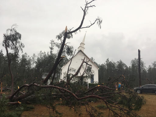 Fallen Trees Sit Near Zoar United Methodist Church That Sustained Damage To Its Steeple Sunday Jan 22 2017 Baxley Georgia