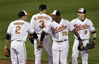 J.J. Hardy, Adam Jones, Ryan Flaherty, Nate McLouth