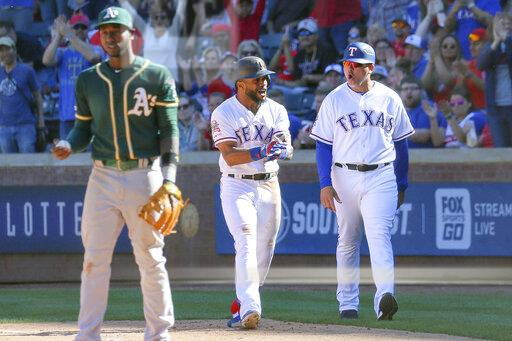MLB: APR 14 Athletics at Rangers