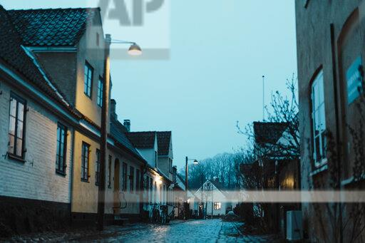 Denmark, Dragor, residential houses in the old town at twilight