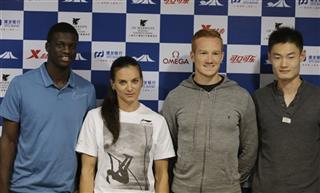 Kirani James, Yelena Isinbayeva, Greg Rutherford, Zhang Peimeng