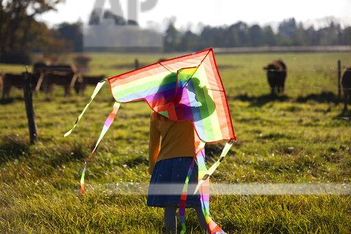 Rear view of girl in field with kite