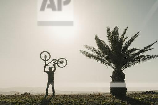 Spain, Lanzarote, mountainbiker on a trip lifting up his bike next to palm tree