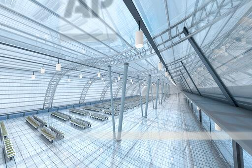3D Rendered Illustration, Architecture visualization of an airport