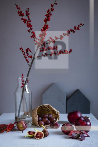 Twig of holly in vase, red fruits and autumn leaves