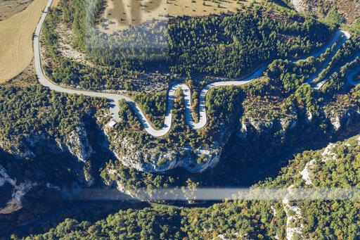 Spain, Navarra, Irati Forest, aerial view of winding road