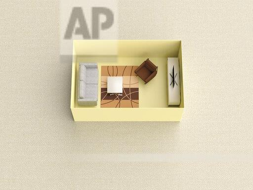 3D rendering, Miniature livingroom in a box
