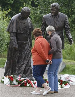 Poland Reagan and Pope Statue