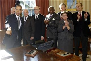 Barack Obama, Steny Hoyer, Sandy Levin, Jim McGovern, Gregory Meeks, Douglas Oberhelman, Rebecca Blank, Carl Gershman