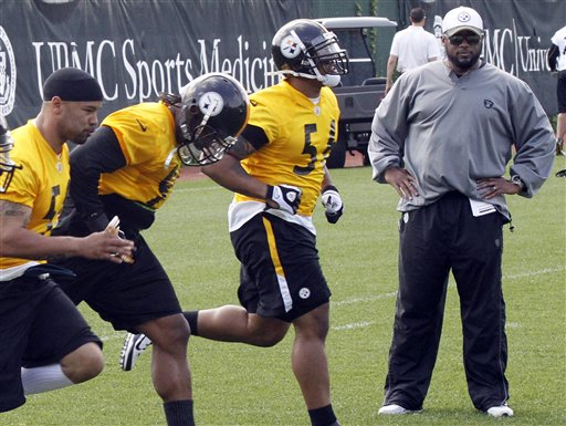Mike Tomlin, LaMarr Woodley , Sean Spence, Larry Foote