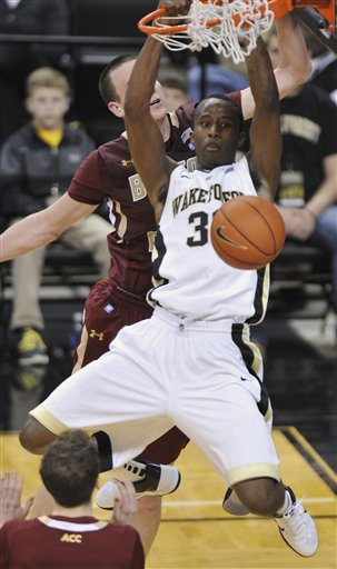 Wake Forest University Forward Travis McKie (30) Boston College Center Dennis Clifford (24)