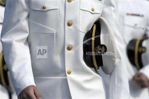 Us Naval Academy Midshipman In Dress Uniform With Combination