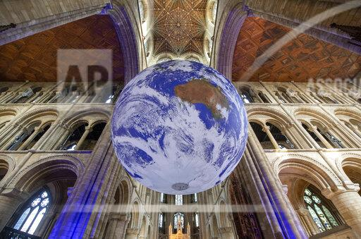 Giant replica of Earth at Peterborough Cathedral