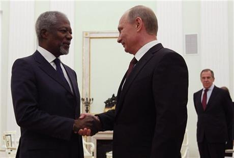 Vladimir Putin, Kofi Annan, Sergey Lavrov