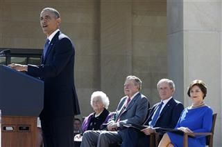 Barack Obama, Barbara Bush, George H.W. Bush, George W. Bush, Laura Bush