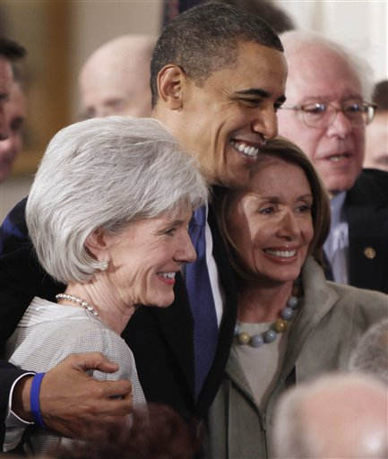 Barack Obama, Kathleen Sebelius, Nancy Pelosi