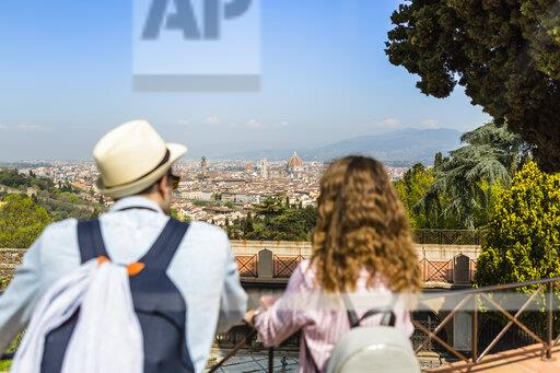 Young couple on a city break in Florence, Tuscany, Italy