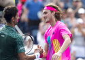 Novak Djokovic, left, of Serbia, congratulates Stefanos Tsitsipas, of Greece, after their match at the Rogers Cup men's tennis tournament in Toronto, Thursday, Aug. 9, 2018. (Frank Gunn/The Canadian Press via AP)