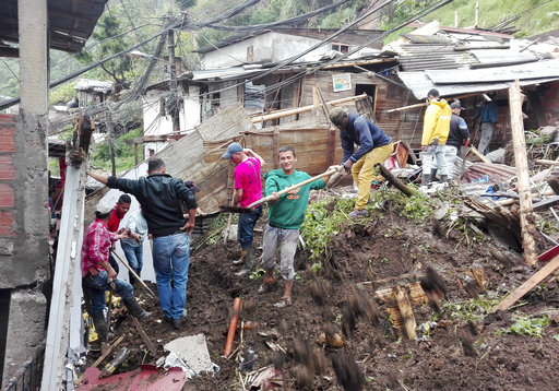 More mudslides in Colombia kill at least 14 people