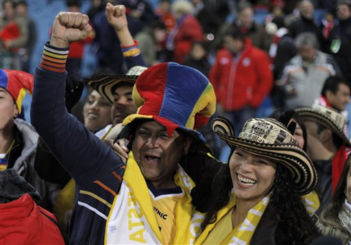 Colombia s fans celebrate during a spanish la liga soccer match