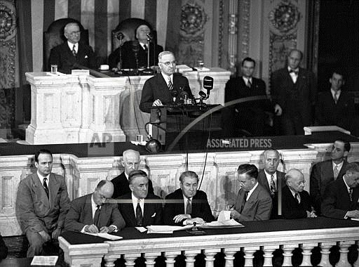 Associated Press Domestic News Dist. of Columbia United States TRUMAN ADDRESSES CONGRESS