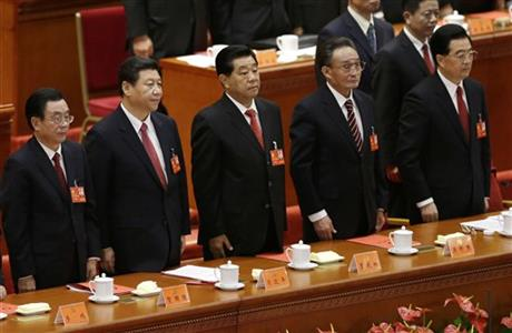He Guoqiang, Xi Jinping, Jia Qinglin, Wu Bangguo, Hu Jintao