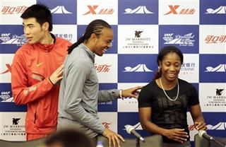 Aries Merritt, Xie Wenjun, Shelly-Ann Fraser-Pryce