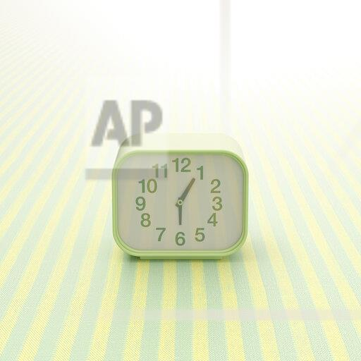 3D rendering, Alarm clock on striped background