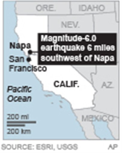 Map locates epicenter of 6.0 magnitude earthquake that struck Napa August 24