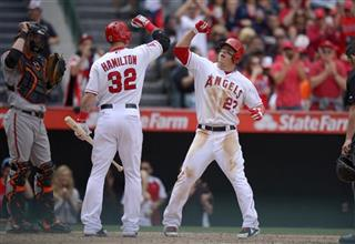 Mike Trout, Josh Hamilton, Nick Markakis