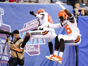Cleveland Browns' David Njoku (85) celebrates with Rashard Higgins (81) after scoring a touchdown during the first half of a preseason NFL football game against the New York Giants, Thursday, Aug. 9, 2018, in East Rutherford, N.J. (AP Photo/Bill Kostroun)