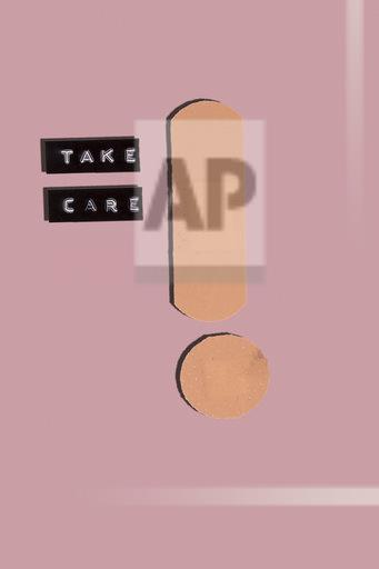 Take care warning made with band aid exclamation mark, 3D Rendering