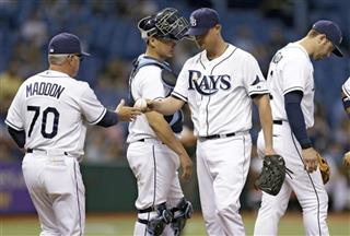 Joe Maddon, Alex Cobb, Evan Longoria, Jose Lobaton