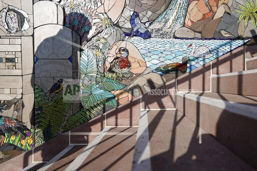 Mosaic on rock stairs