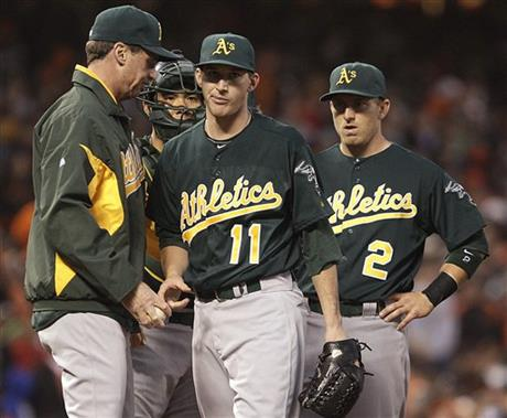 Jarrod Parker, Bob Melvin, Cliff Pennington