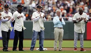 Rich Aurilia, Barry Bonds, Kirk Rueter, Peter Magowan, Dusty Baker