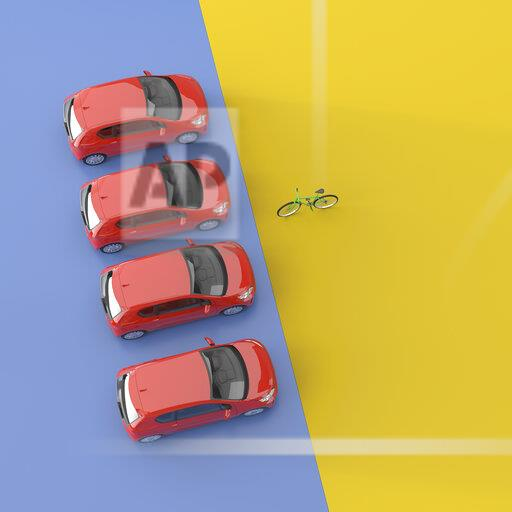 3D rendering, Four red cars facing a bicycle