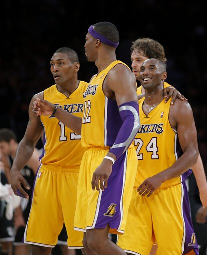 Metta World Peace, Dwight Howard, Pau Gasol, Kobe Bryant 
