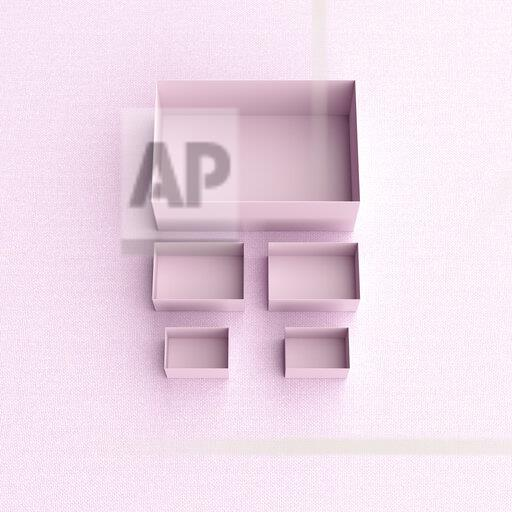 3D rendering, Pink boxes in different sizes on pink backround