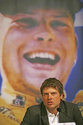 FILE - In this Feb. 26, 2007 file photo German cyclist Jan Ullrich, Tour de France winner in 1997, announces his retirement from active cycling during a news conference at a hotel in Hamburg, northern Germany. On Friday, Aug. 10, 2018 Ullrich has been arrested and is in police custody for allegedly attacking an escort in a Frankfurt hotel. (AP Photo/Oliver Fantitsch, file)