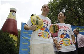 Joey Chestnut, Sonya Thomas, Michael Bloomberg