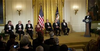 Barack Obama, Buddy Guy, Dustin Hoffman, David Letterman, Natalia Makarova, John Paul Jones, Jimmy Page, Robert Plant