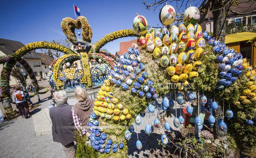 Fountain decorated with Easter eggs in Germany