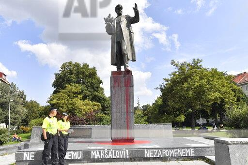 Soviet Marshal Konev's statue doused with red colour