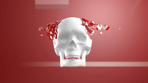 3D Rendering, Skull bursting into pieces in front of red background