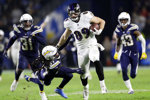 fb99b170f Baltimore Ravens tight end Mark Andrews runs for a touchdown past Los  Angeles Chargers strong safety Jahleel Addae during the second half in an  NFL football ...